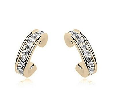 Gold / Silver Single Half Hoop Earrings - Gold