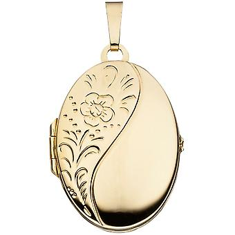 Medallion oval pendant 925 sterling silver gold plated floral engraving