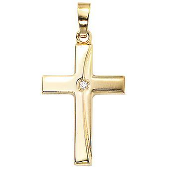 CAROLO supporters cross jewel gold cubic zirconia