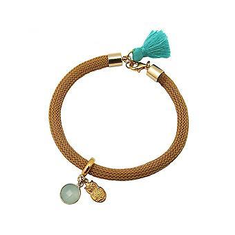 Женщины - браслет - золото гальваническим халцедон - камень - Аква - сова - зеленый - коричневый