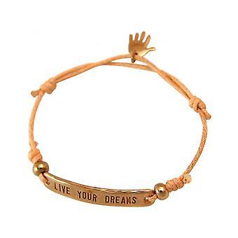 Kvinner - armbånd - gravert - LIVE YOUR DREAMS - steg gullbelagt - lyse coral - steg