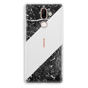 Nokia 7 Plus transparentes Gehäuse (Soft) - schwarzem Marmor