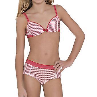 Göğüsler & Bloomers 30.33.0042-341 Kız & Apos;s Anny Stripe Baskı Kırmızı Benekli Kısa