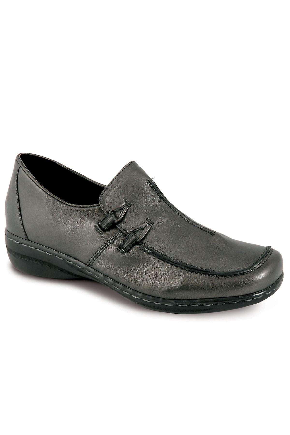 Ladies Slip On Low Heel Comfortable Plain Black Navy Pewter Women's Shoes