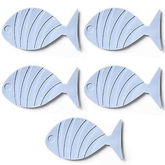 TRIXES 5PC poisson bleu en forme de tapis de bain pour enfants anti dérapant ventouses.