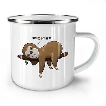 Sloth Lazy NEW WhiteTea Coffee Enamel Mug10 oz | Wellcoda