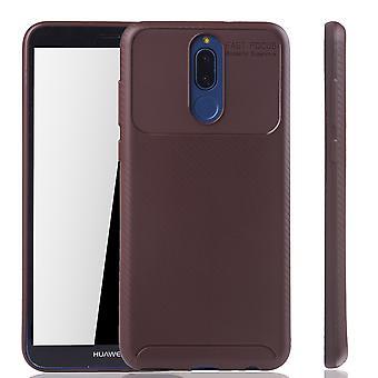 Huawei Mate 10 Lite Handyhülle Schutzcase Carbon Optik Bumper Braun