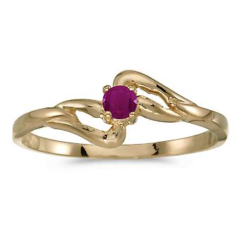 LXR 10k Yellow Gold Round Ruby Ring 0.12 ct