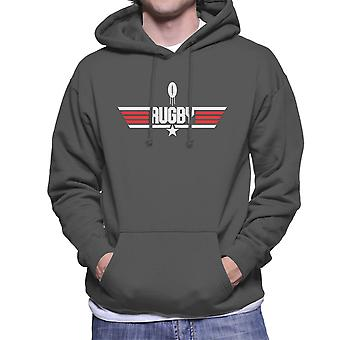 Top Gun Rugby Rugby Ball Logo Men's Hooded Sweatshirt