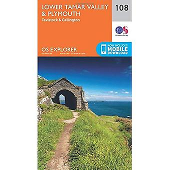 OS Explorer Map (108) dolnym Tamar Valley i Plymouth