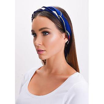 Kwadrat jedwab satyna głowy szalik łańcucha wydruku niebieski