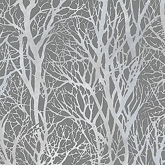 Silver Forest Trees Fond d'écran Metallic Woodland Paste Wall Vinyl AS Création