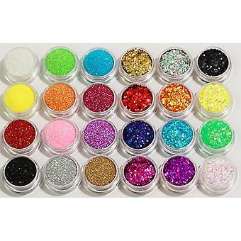 24 pulloa Glitter kynsien koriste hienorakeinen/kuusikulmainen