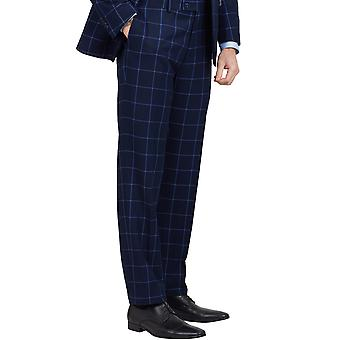 Dobell Mens Navy Suit Trousers Regular Fit Blue Windowpane Check