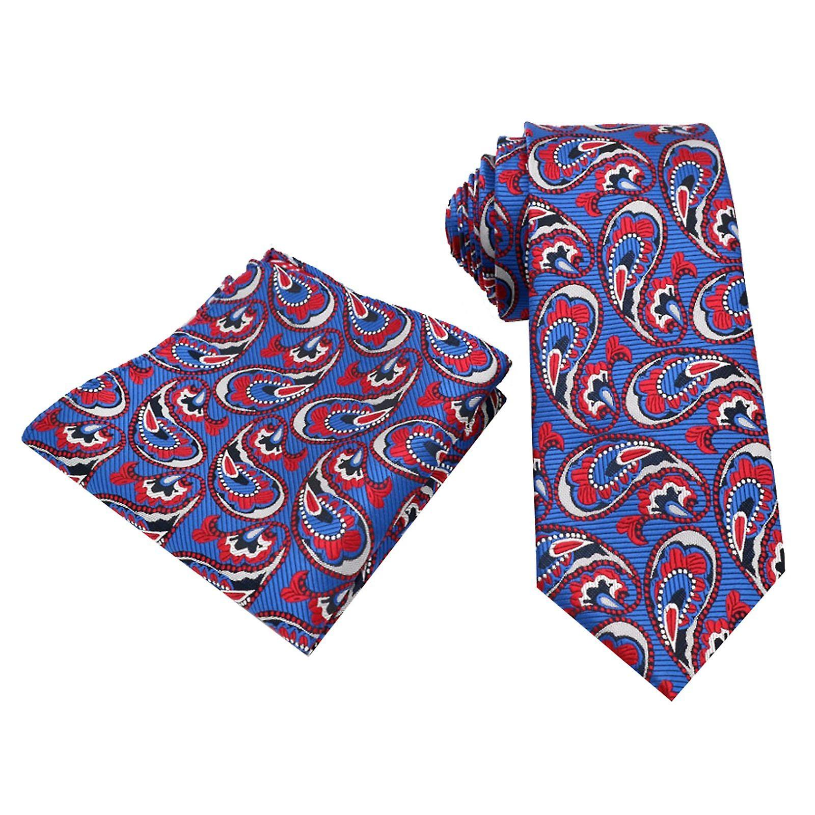 Blue red silver oat paisley pattern tie & pocket square