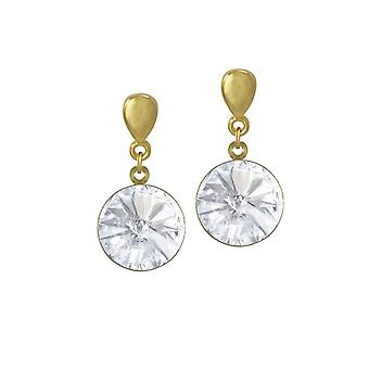 Ewige Kollektion Rivoli Clear österreichischen Crystal Gold Ton Drop Ohrstecker