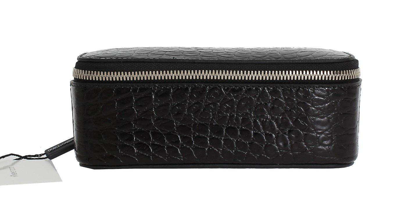 Black pattern leather accessory case box