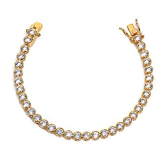 Ah! Jewellery Gold Filled 4mm Brilliant Round Tennis Bracelet in a Stunning Bezel Setting. 19.5cm Total Length.