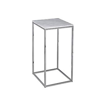 Gillmore White Marble And Silver Metal Contemporary Square Lamp Table
