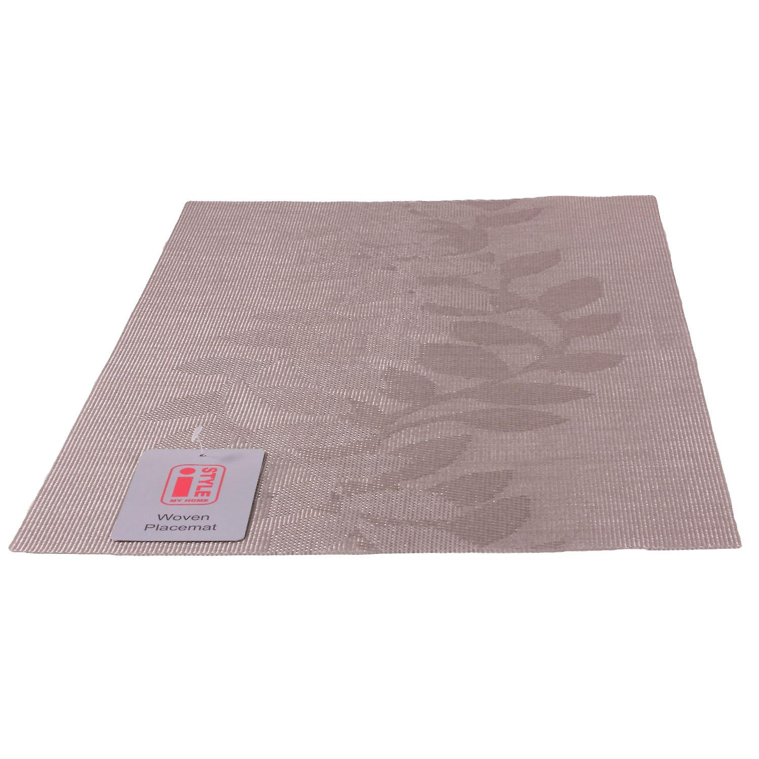 iStyle - Teslin Woven Placemat 30cm x 45cm - Taupe Leaf