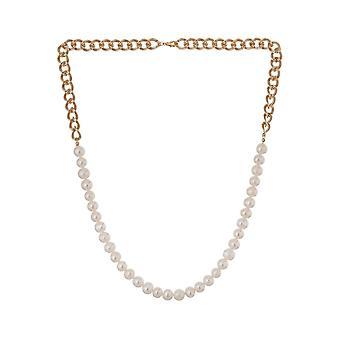 Gemshine halsband med vit odlade pärlor Art Deco guldpläterad-Made i Spanien