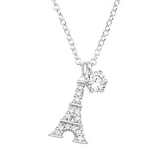 Eiffel Tower - 925 Sterling Silver Jewelled Necklaces - W36844x