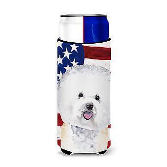 Bandera Americana de EE.UU. con aisladores De bebidas Ultra Bichon Frise para latas delgadas SC90