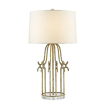 Gilded Nola Gilded Nola  Steel Frame With Crystal Accents On A Crystal Glass Base With Cream Linen Tapered Drum Shade