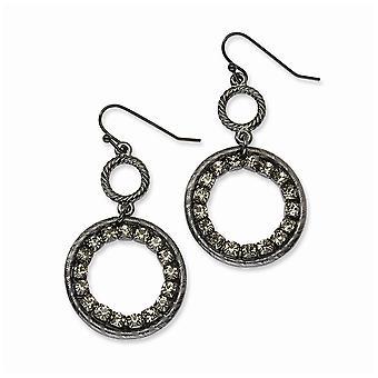 Gancho de pastor negro plateado negro crystal círculo largo gota colgante pendientes joyería regalos para las mujeres