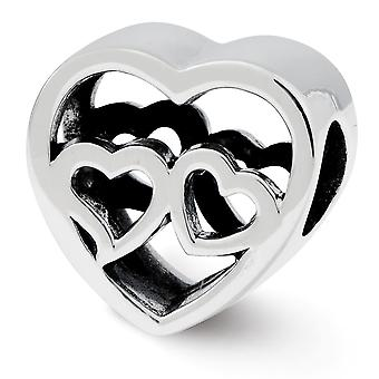 925 Sterling Silver finish Reflections Two Love Hearts Bead Charm Pendant Necklace Jewelry Gifts for Women