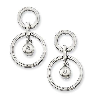 Stainless Steel Dangle Polished Post Boucles d'oreilles CZ Cubic Zirconia Simulated Diamond Earrings Bijoux Bijoux pour les femmes