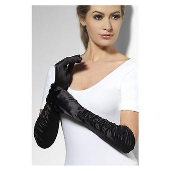 Womens Long Black Temptress Gloves  Fancy Dress Accessory