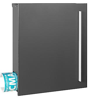 MOCAVI Box 110 Quality letterbox with newspaper compartment grey-iron glimmer (DB 703)