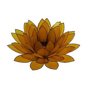 Orange Capiz Shell Lotus Flower Tealight Candle Holder
