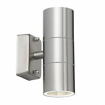 2 Light Outdoor Outdoor Up Down Wall Light Clear Glass, polerowana stal nierdzewna Ip44
