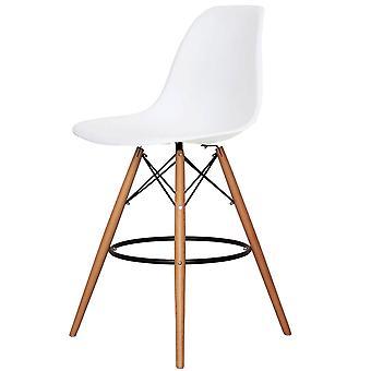 Charles Eames Styl Biały plastikowy stołek barowy