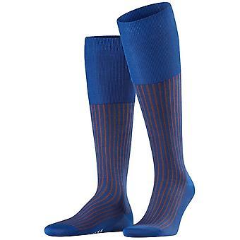 Falke Oxford Stripe Knie hohe Socken - Saphir blau/Rust