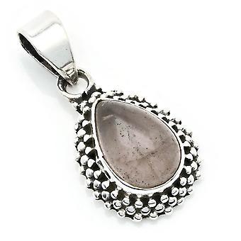 Amuleto de caneta de corrente prata 925 Sterling Silver Rose Quartz Pink Stone (Nr: MAH 134-07)