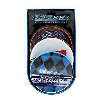 Disceez High Performance Flying DIC, 13cm, valikoitu (3 kpl), sininen ruudullinen