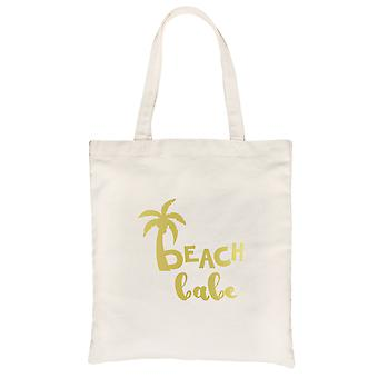 Beach Babe Palm Tree-GOLD Natural Canvas Shoulder Bag Wonderful