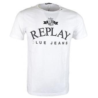 Replay Round Neck Printed White T-shirt