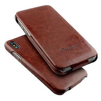 Para iPhone XS,X Case,Elegante Moda Vertical Flip Shielding Capa de Couro, Marrom