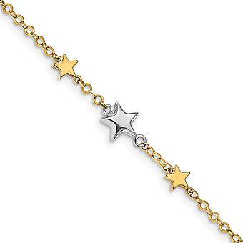 14k Två ton Gold Stars Armband 7,25 tums smycken gåvor för kvinnor - 2,8 gram