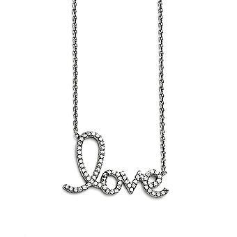 Acero inoxidable pulido amor con CZ Zirconia cúbica simulada diamantes collar 18 pulgadas regalos de joyería para las mujeres