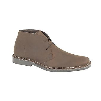 Roamers Brown Pull Up Leather 2 Eyelet Desert Boot Textile Lining Tpr Sole