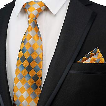 Orange & silver diamond designer tie & pocket square