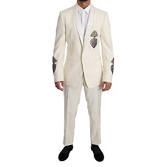 Dolce & Gabbana White Wool Slim Fit Pineapple Crystal Suit