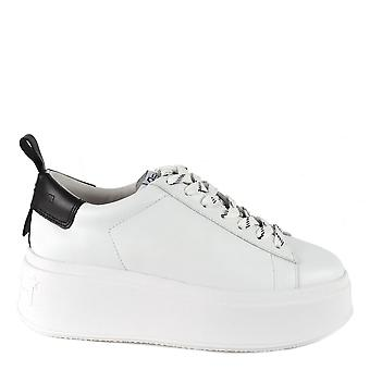 Ash MOON Platform Trainers White & Black Leather