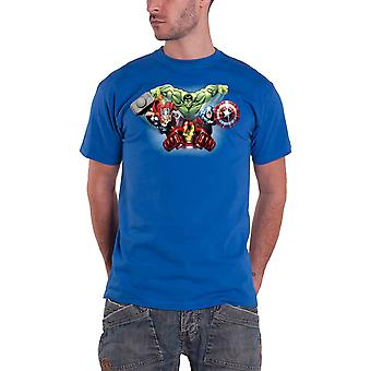 Avengers T Shirt age of ultron flying Characters Official marvel Mens New Blue
