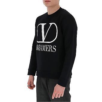 Valentino Tv0mf11y6800ni Män's Svart bomull sweatshirt